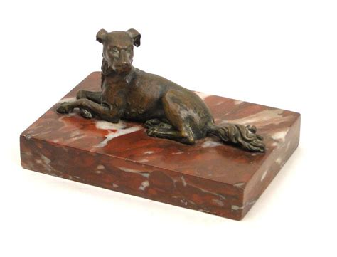 Bronze sculpture hunting dog with red marble base, twentieth