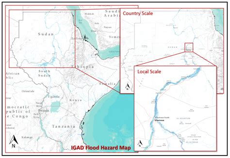 Flood prone areas in the Greater Horn of Africa on the map