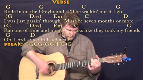 Lodi (CCR) Strum Guitar Cover Lesson in G with Chords