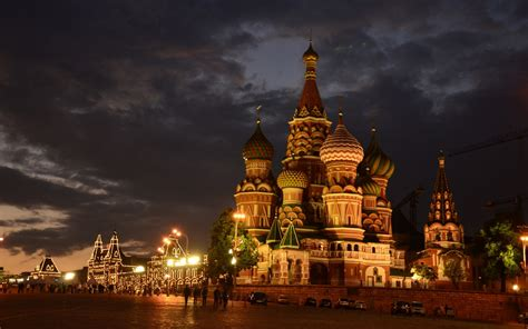 Moscow Russia St Basil's Cathedral Red Square Night City