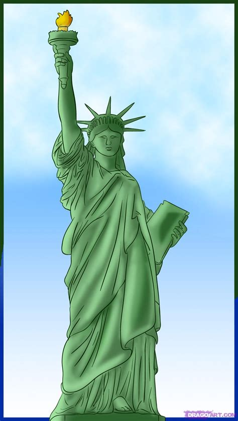 How To Draw The Statue of Liberty, Step by Step, Monuments