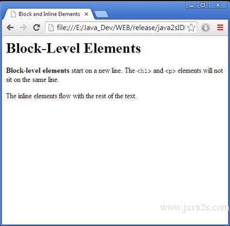 Show the difference between block and inline elements in