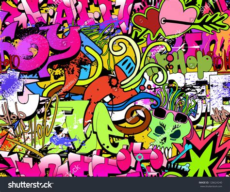Graffiti Wall Art Background Hiphop Style Stock Vector