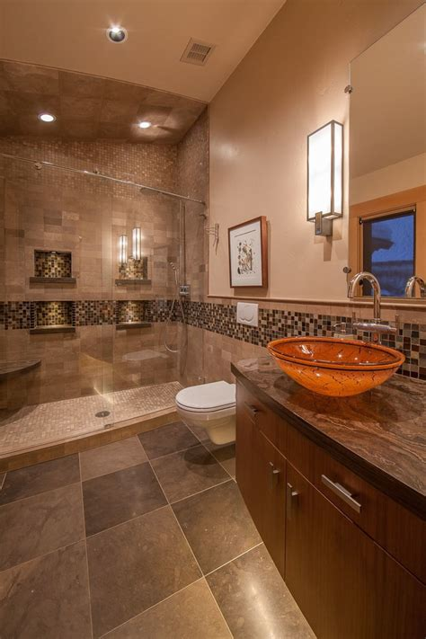 Beautiful Octagon Mosaic Tile with Glass Shower Ledge
