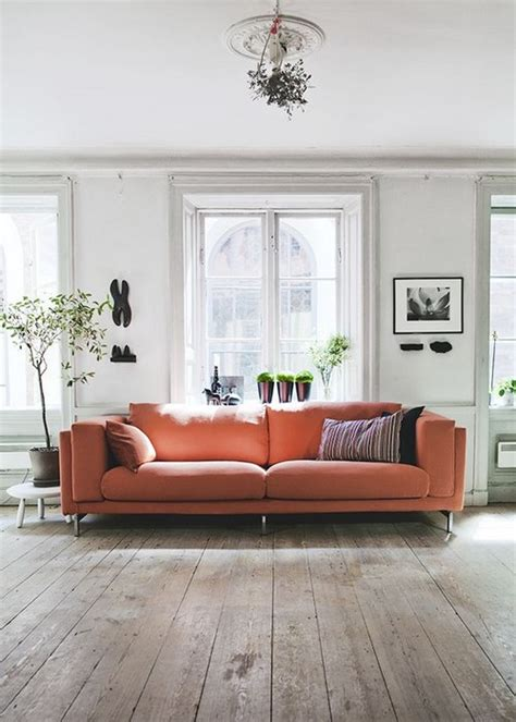 23 Living Rooms With Bold Orange Sofas - MessageNote