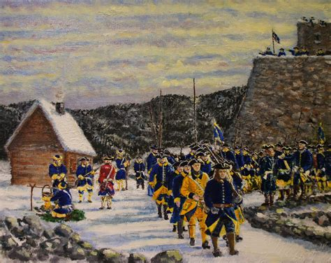 Swedish infantry marching at the Fortress of Narva, Great